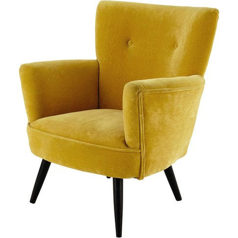 Velvet armchair in yellow Sao Paulo