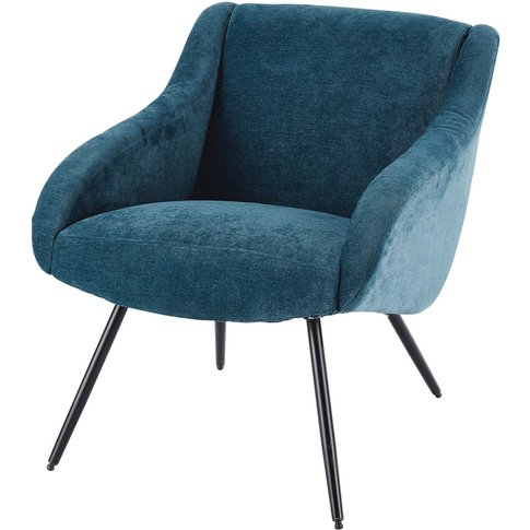 Velvet Vintage And Metal Armchair In Blue Joyce