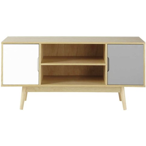 Vintage 2-Door White And Grey Tv Unit Fjord