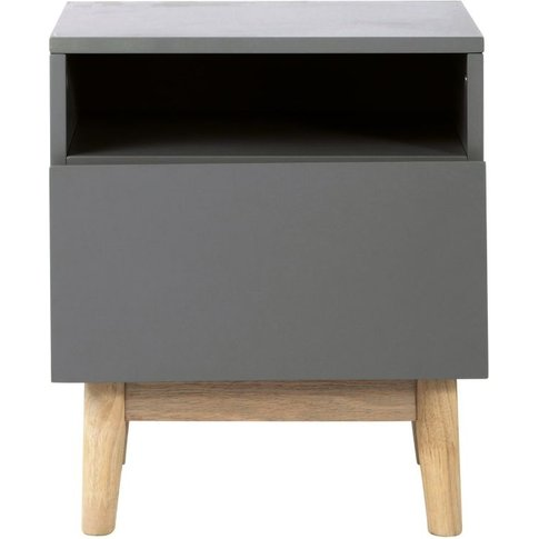 Vintage Bedside Table in Grey Artic