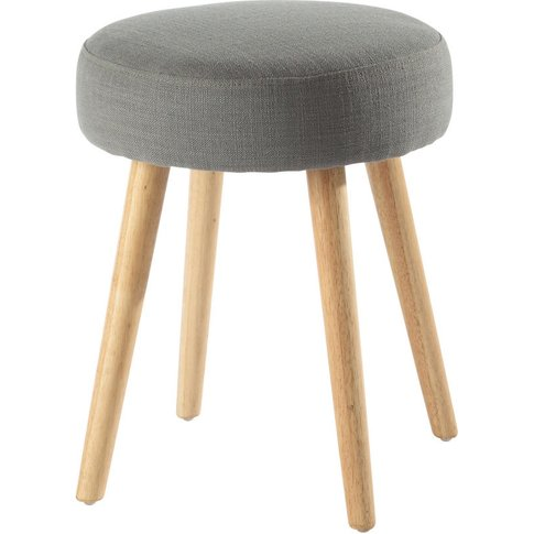 Vintage Grey Stool With Rubber And Pine Feet