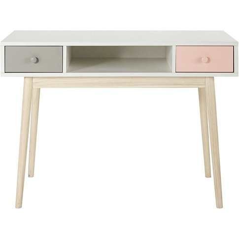 Vintage White Desk With 2 Pink And Grey Drawers Blush