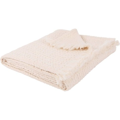 Waffled Ecru Cotton Blanket 160x210