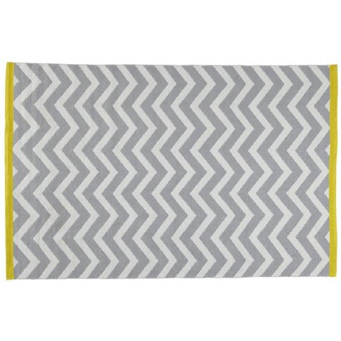 Wave Cotton Low Pile Rug In Grey 140 X 200cm