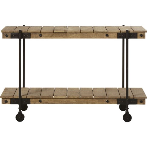 Wheeled Console Table in Mango Wood and Black Metal ...