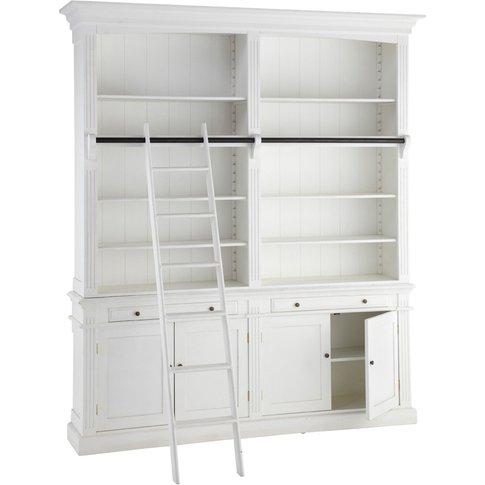 White 2-Drawer 4-Door Bookcase With Ladder Amandine