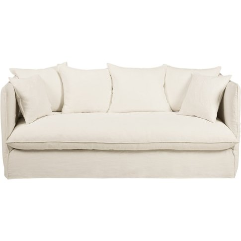 White 3/4-seater washed linen sofa bed Louvre