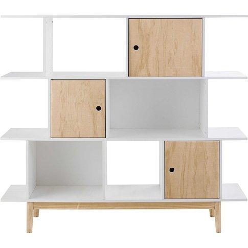 White 3-Door Bookcase Happy