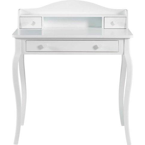White 3-Drawer Writing Desk Lilly