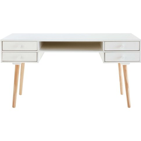 White 4-Drawer Desk Joy