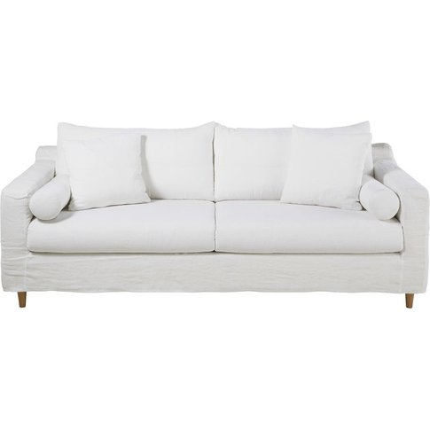 White 4-Seater Washed Linen Sofa Bed Francisco