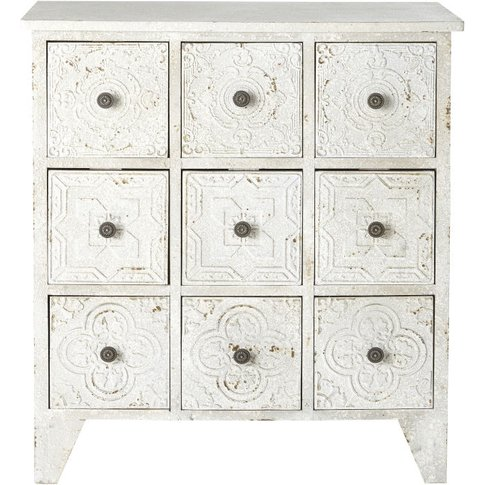 White 9-Drawer Storage Cabinet With Arabesque Print ...