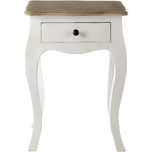 White Acacia And Mango Bedside Table With Drawer Ver...