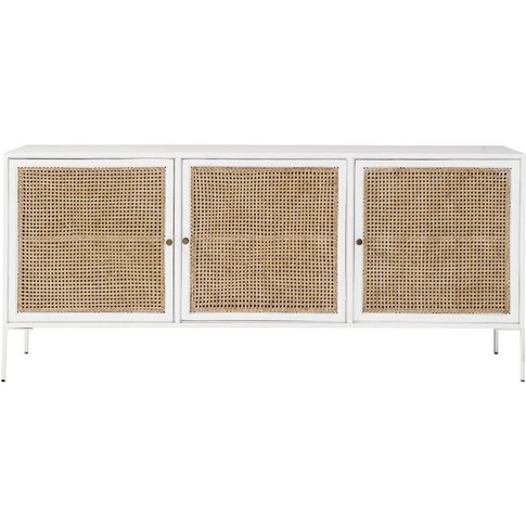 White Acacia Wood And Bamboo 3-Door Sideboard Izmir