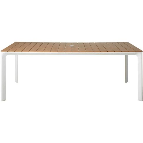 White Aluminium 6-8 Seater Garden Table L200 Fuji