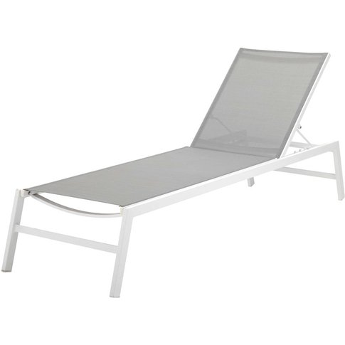 White Aluminium Sun Lounger with Grey Canvas Hawai
