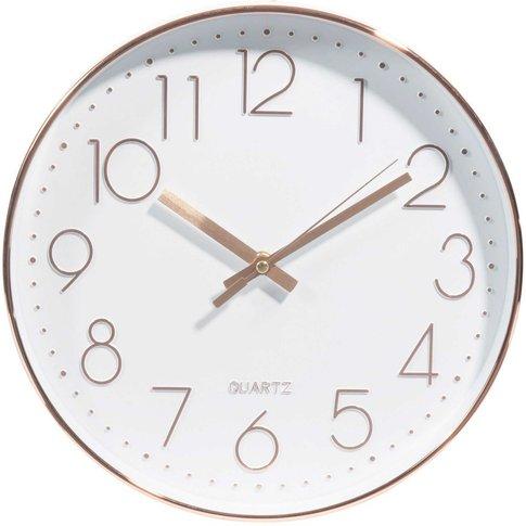 White And Copper Clock D31