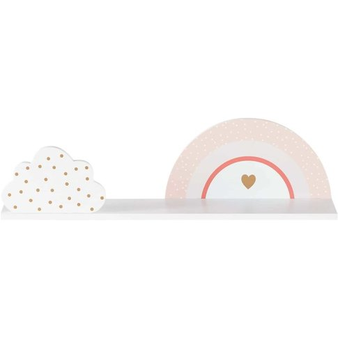 White And Gold Rainbow And Cloud Shelving Unit
