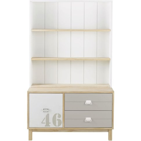 White And Grey Bookcase With 2 Drawers 1 Door Marin