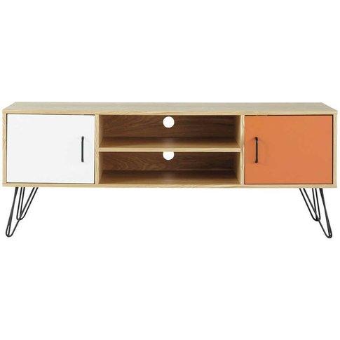 White And Orange Vintage 2-Door Tv Unit Twist