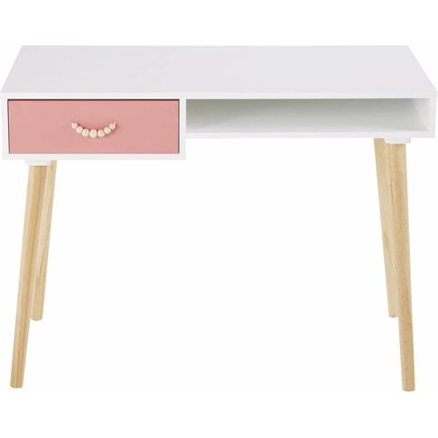 White And Pink Coral Vintage 1-Drawer Desk Tropicool