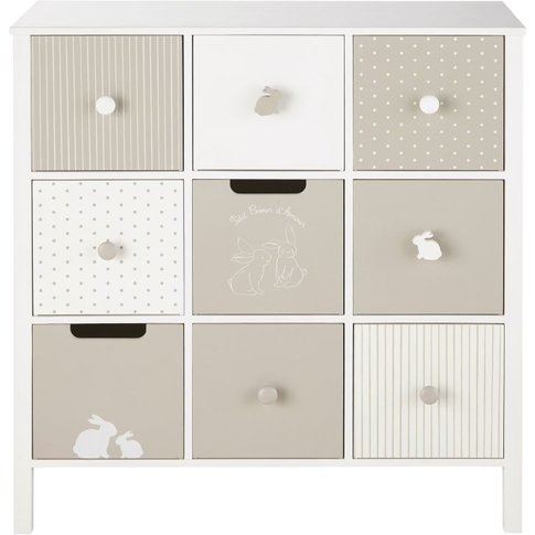 White and Taupe Patterned 9-Drawer Cabinet Bulle