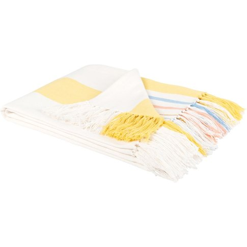 White And Yellow Cotton Blanket 130x170