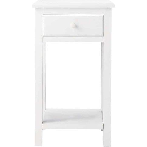 White Bedside Table with 1 Drawer Pastel