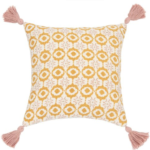 White Cotton Cushion Cover With Yellow And Pink Moti...