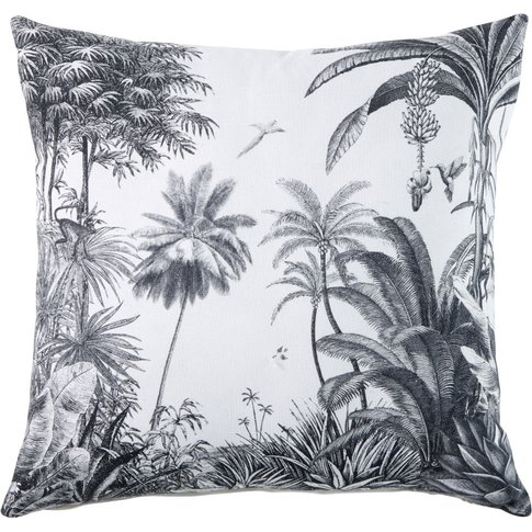 White Cotton Cushion with Tropical Print 45x45