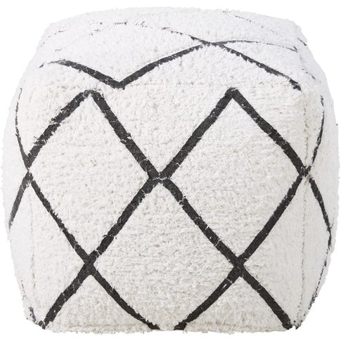 White Cotton Pouffe With Black Graphic Print