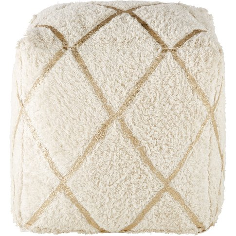 White Cotton Pouffe With Golden Graphic Motifs