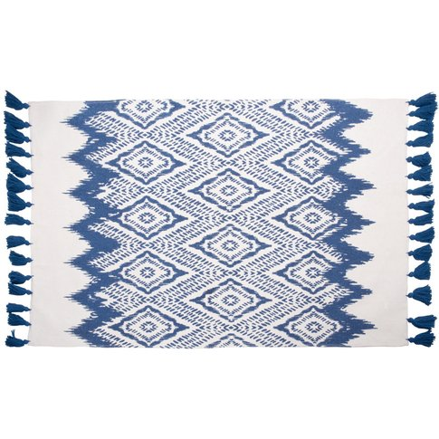White Cotton Rug With Blue Graphic Motifs 90x150
