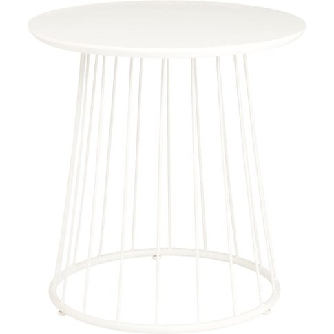 White Cut Out Metal Side Table