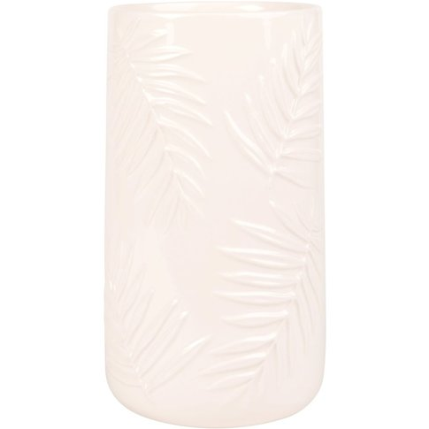 White Earthenware Vase With Raised Palm Tree Design H25