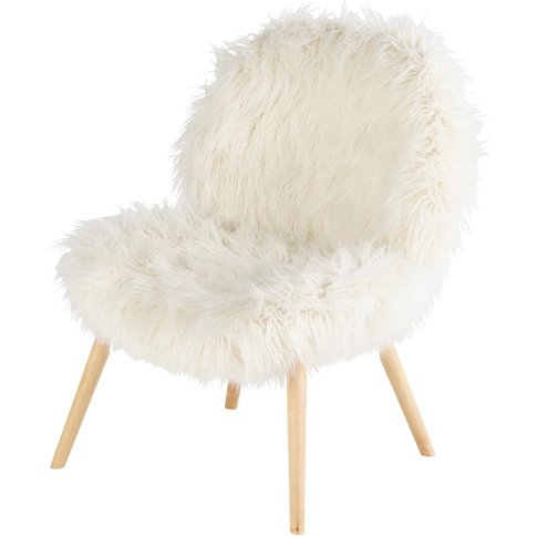 White Faux Fur Vintage Armchair Bobby