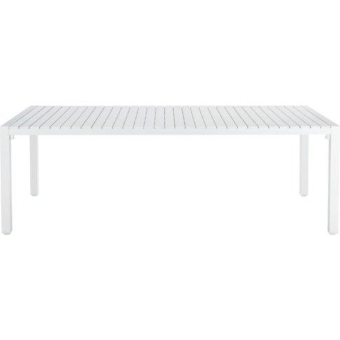 White garden table in aluminium W 230cm Portofino
