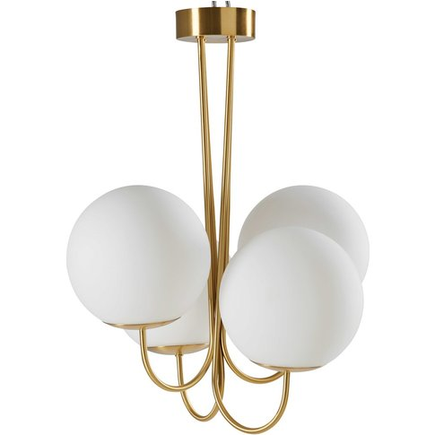 White Glass And Gold Metal Chandelier With 4 Globes