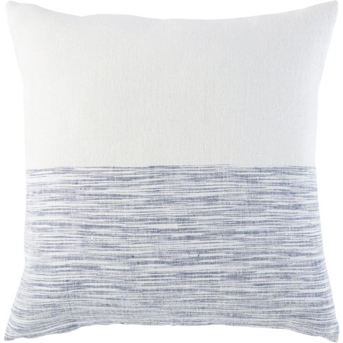 White Linen Cushion With Blue Graphic Print 45x45