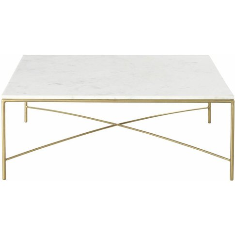 White Marble And Brass Metal Coffee Table Isaée