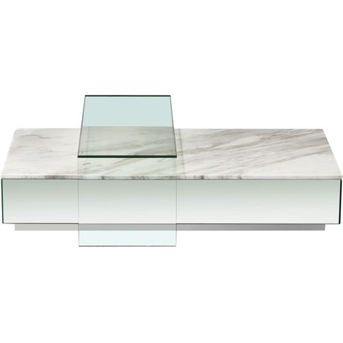 White Marble And Glass Coffee Table Lucio