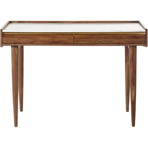 White Marble And Solid Acacia Desk Cappuccino