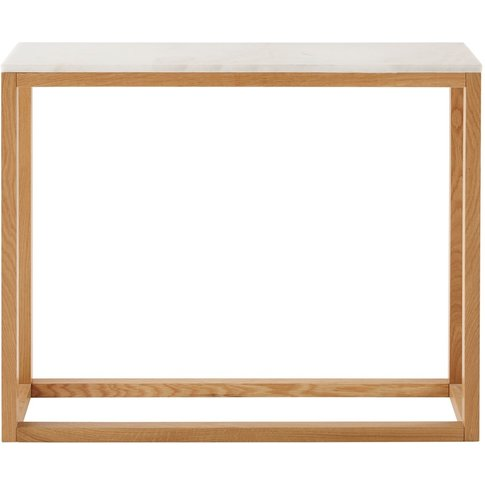 White Marble And Solid Oak Console Table Marlow