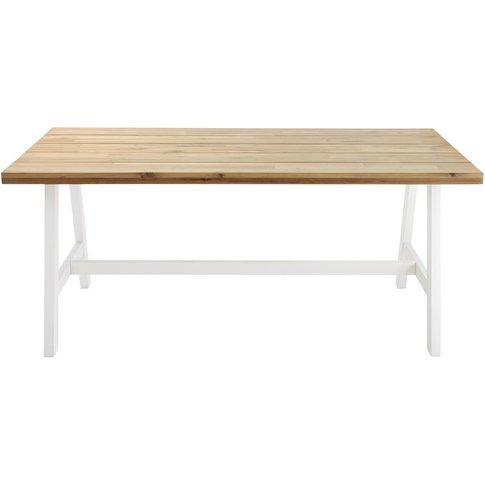 White Metal and Acacia 6-8 Seater Garden Table W 180...