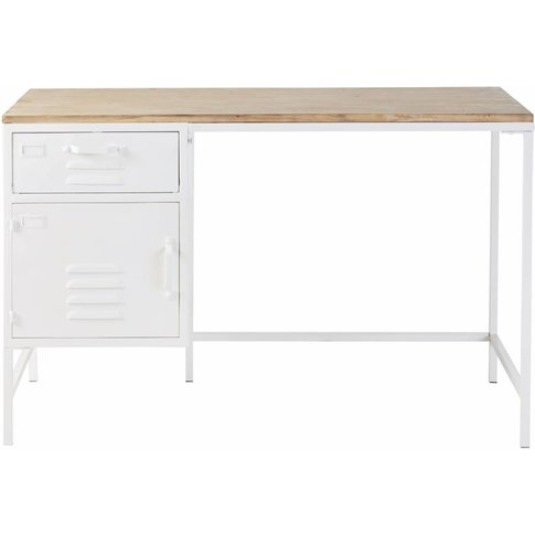 White Metal And Pine 1-Drawer 1-Door Desk Sunset Uni...