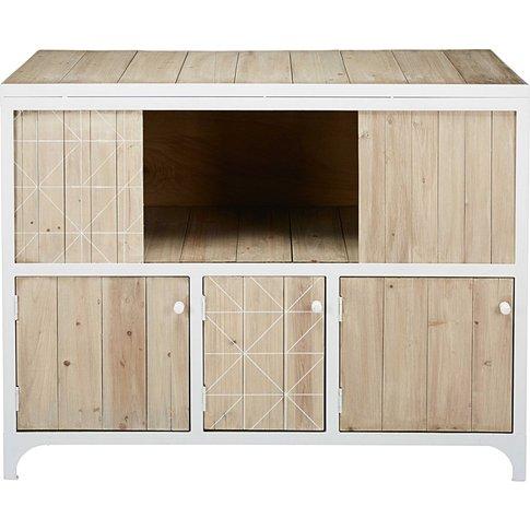 White Metal And Pine 3-Door Sideboard Taylor