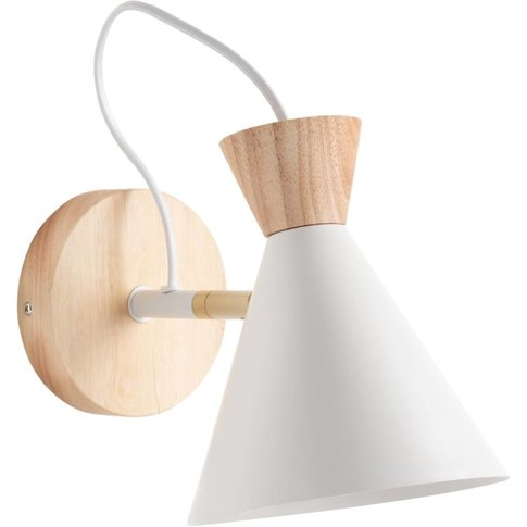 White Metal and Rubber Wood Wall Light