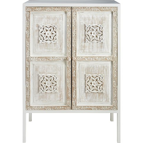 White metal and sculpted mango wood sideboard Mambok