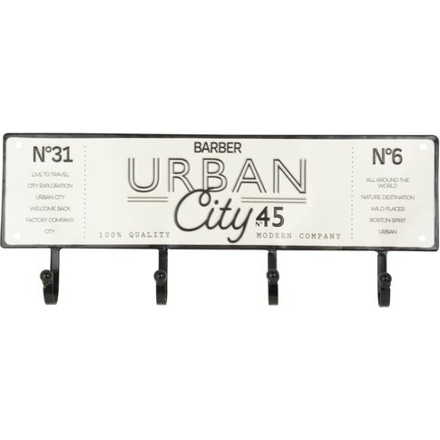 White Metal Number Plate Coat Rack with Black Print