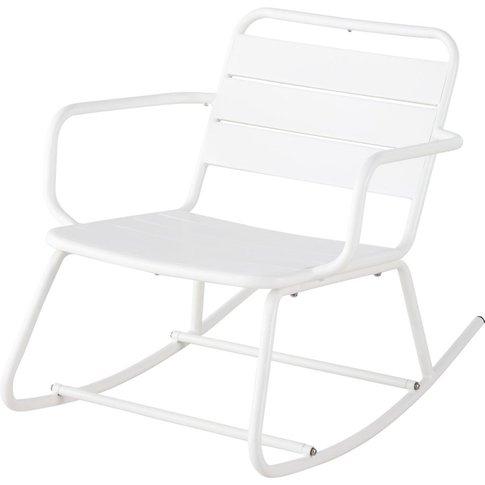 White Metal Outdoor Rocking Chair Batignolles